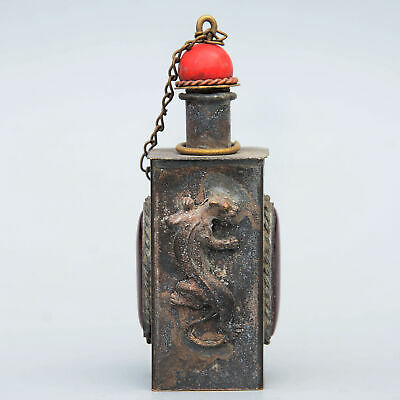 Collect China Old Bronze Armour Agate Hand-Carved Myth Animal Noble Snuff Bottle