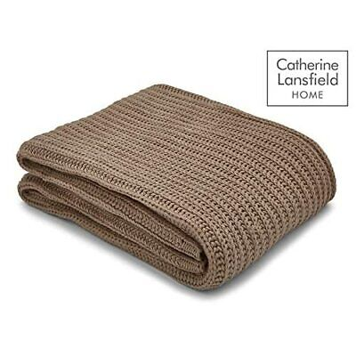 [inj] Catherine Lansfield Chunky Knitt Plaid, Materiale Sintetico, Natural, a un