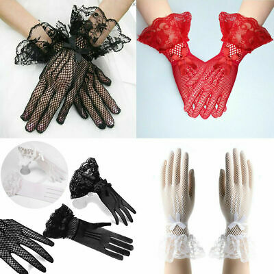 Womens Lace High Elastic Knitted Gloves Fishnet Bowknot Wedding Bride Gloves US