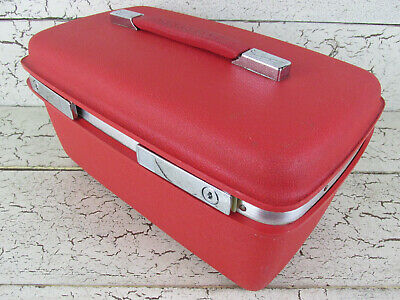 Samsonite Makeup Hard Train Case Red Luggage Sewing Storage Vintage USA