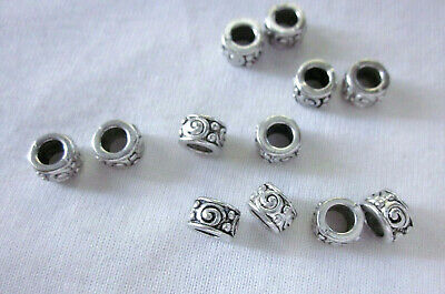 10 Antique Silver Coloured 5mm x 7mm Large Hole Spacer Beads 4mm Hole #2673