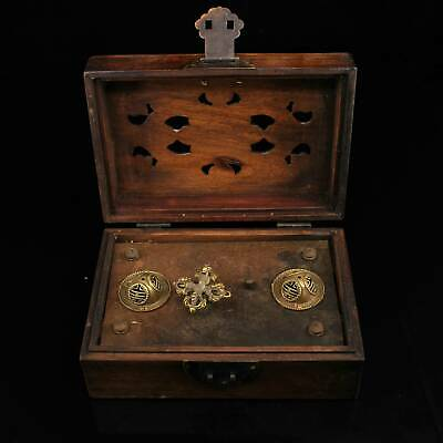 Collect China Old Boxwood Copper Mosaic Agate Carve Flower Rare Unique Music Box