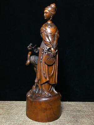 Collectable Chinese Handwork Old Boxwood Carve Crane Unique Interesting Statue