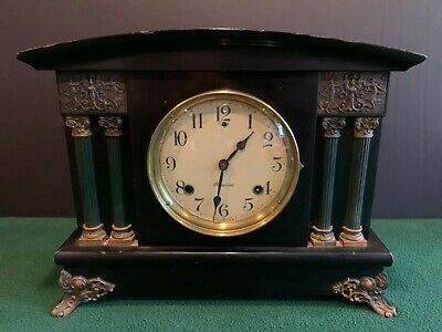 Antique SESSIONS CLOCK, Half-Hour Strike, Cathedral Gong Turn Back Mantle Clock