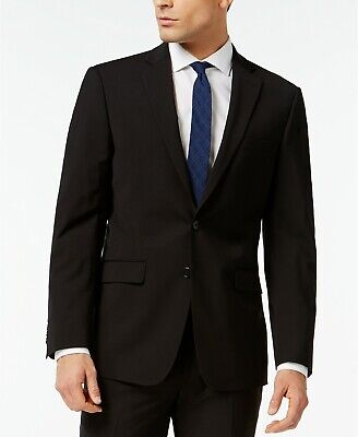 $450 Calvin Klein Solid Black Wool Suit Suit Separate Jacket Mens 42R 42 NEW