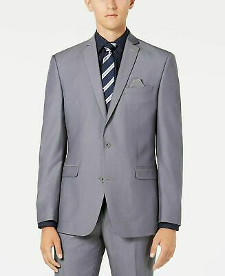 $425 Bar III Slim-Fit Stretch Solid Iridescent Silver Suit Jacket Men 38S 38 NEW