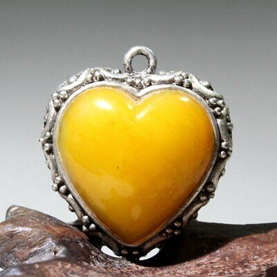 China Collect Old Miao Silver Mosaic Agate Hand-Carved Hollow Out Heart Pendant