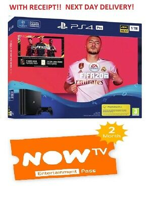 BRAND NEW Sony PlayStation 4 (PS4) PRO Console 1TB FIFA 20 Bundle + 2M Now TV