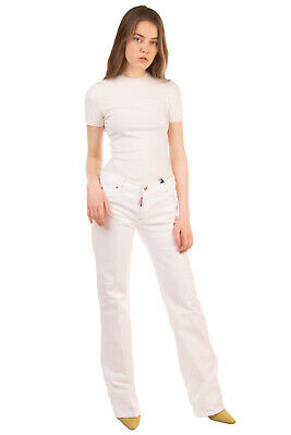 RRP €410 DSQUARED2 Jeans Size 42 / M Stretch White Straight Leg Made in Italy
