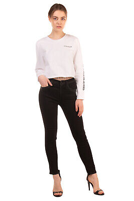RRP €325 R13 Treated Jeans Size 24 Stretch Black High Waist Skinny Made in Italy