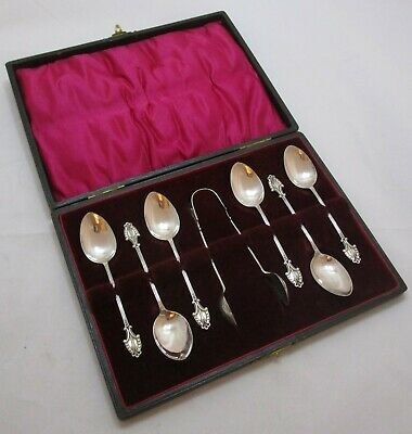 Cased Set Antique Edwardian Sterling silver teas spoons & tongs, 1905, 43 grams
