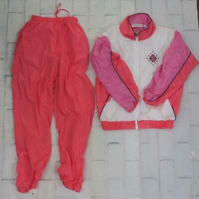 Vintage Santolina Bay Pink White Nylon Lined 2-PC Athletic Track Suit Womens S