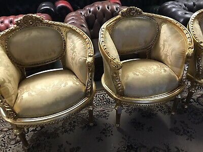 Set Four Matching Beautifull French Gold Tub Chairs