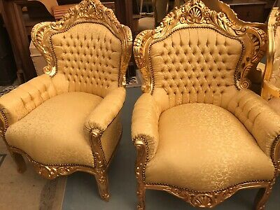 Matching Pair Of New French Loui Gold Arm Chairs