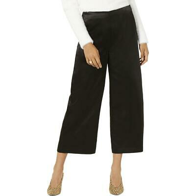 Bar III Womens Black Satin Cropped Ankle Wide Leg Pants Trousers 14 BHFO 2161