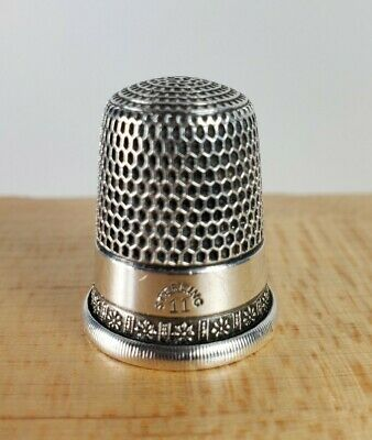 Excellent Antique Simons Sterling Silver Sewing Thimble Size 11
