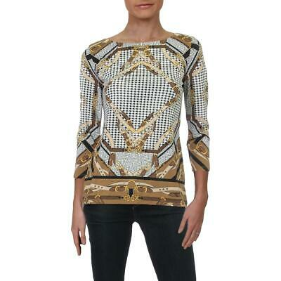 Charter Club Womens Brown Printed Pullover Blouse Top Shirt XS BHFO 9889