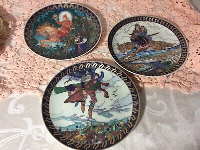 """Villeroy Boch Set Of 3 Decorative Plates 6.5""""The Russian Fairy Tales  In EUC"""