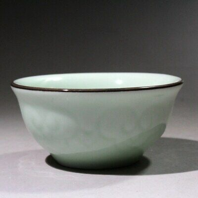 Collectable China Green Glaze Porcelain Handwork Carve Auspicious Fish Chic Bowl