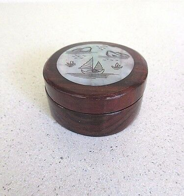Oriental / Chinese Theme Lacquered Round Wood Hinged Box Mother of Pearl Colour
