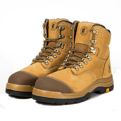 ROCKROOSTER Mens Work Boots Safety Shoes Leather Waterproof Lace Up Non Zip