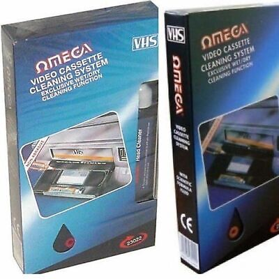 Omega  VHS VCR Cassette Tape Video Head Cleaner System Dry & Wet with Fluid x 1