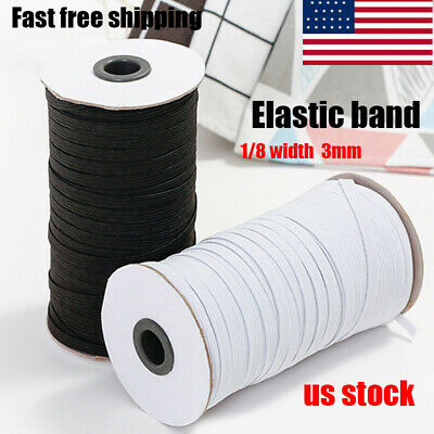 "100/200 Yard Length DIY Braided Elastic Band Cord Knit Band Rope Sewing 1/8"" 3mm"