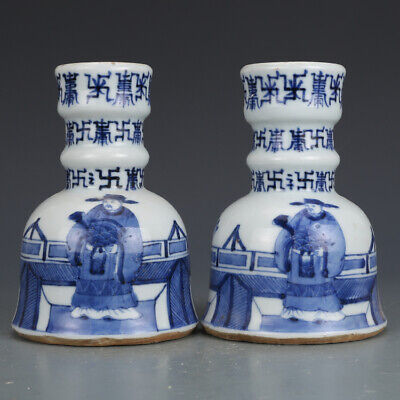 Old Chinese Ming blue and white Porcelain hand painting poet Candlestick 5.5""