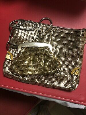 Beautiful Vintage Gold  Glomesh Slouch Bag And Purse  Set