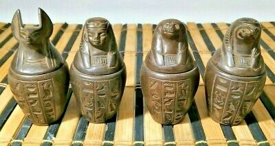 Rare Ancient Egyptian Antiques  stone Canopic Jars  hieroglyphic