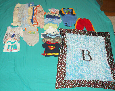 Lot of 25 pc.  baby boy clothes & blanket , size 3-6 months