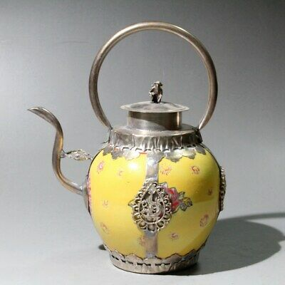 Collect China Old Miao Silver Enamel Porcelain Hand-Carved Phoenix Monkey Teapot