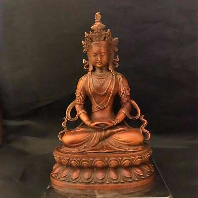 Collectable Auspicious China Boxwood Handwork Carve Noble Exorcism Buddha Statue