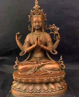 Collectable China Boxwood Handwork Carve Four Arm Guanyin Exorcism Unique Statue