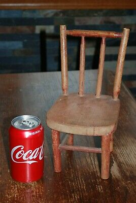 Antique Folk Art Child Kid Doll Wood Chair - Solid Chair - Old Red Paint