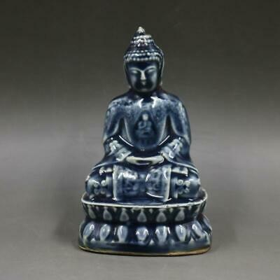 Collectable China Old Porcelain Handwork Carve Buddha Auspicious Decorate Statue
