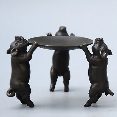Collectable Handwork Old Bronze Carve Pig Lovely Unique Noble Candlestick Statue