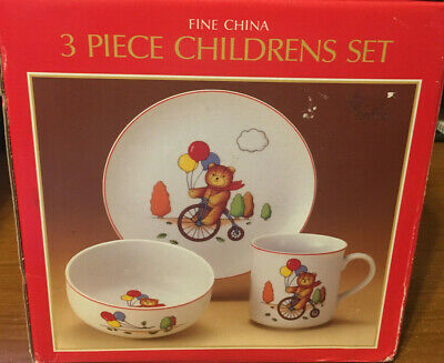 Nib 3 Piece Childrens Fine China Set Plate, Bowl And Mug Teddy Bear