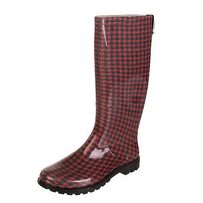 JUST CAVALLI Knee-High Wellington Boots Size 37 UK 4 Houndstooth Metal Logo