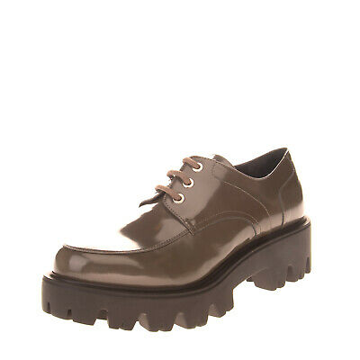 RRP€325 LORIBLU Leather Derby Shoes EU38 UK5 US8 Patent Lug Sole Made in Italy