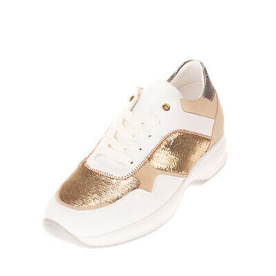 RRP €220 GATTINONI Leather Sneakers Size 39 UK 6 US 9 Sequins Metallic Effect
