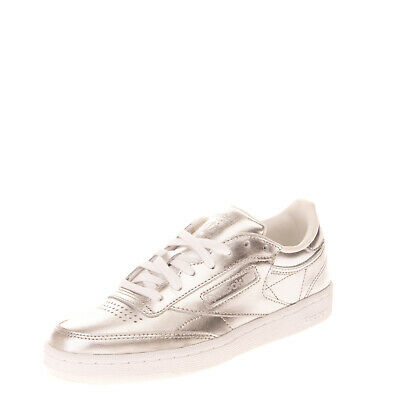 REEBOK CLUB C 85 Leather Sneakers Size 37 UK 4 US 6.5 Metallic Perforated Logo