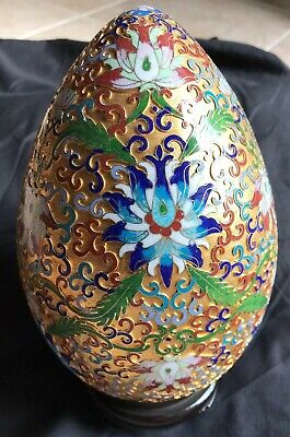 "Cloisonne Egg w Stand Champleve Gold on Copper Large 10"" Authentic Easter Decor"
