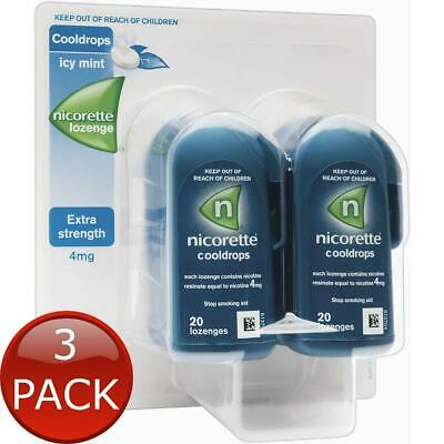 3 x NICORETTE COOLDROPS LOZENGES EXTRA STRENGTH ICY MINT 80 PIECES 4MG