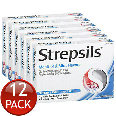 12 x STREPSILS DOUBLE ANTIBACTERIAL SORE THROAT LOZENGES MENTHOL AND MINT 16 ...