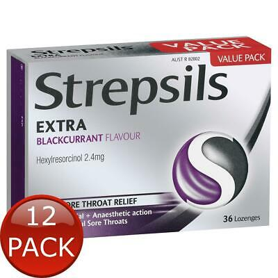 12 x STREPSILS EXTRA BLACKCURRANT FAST NUMBING SORE THROAT PAIN RELIEF WITH A...