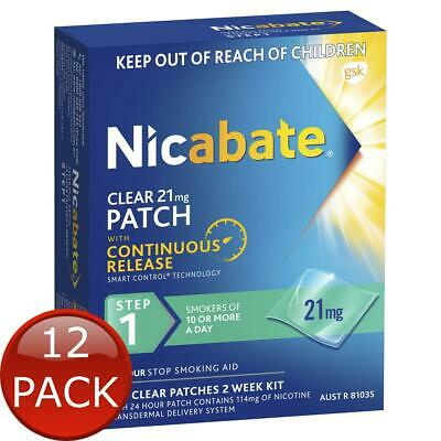 12 x NICABATE CLEAR PATCH QUIT SMOKING STEP 1 21MG 14 PATCHES