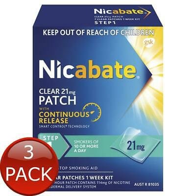 3 x NICABATE CLEAR PATCH QUIT SMOKING STEP 1 21 MG 7 PATCHES