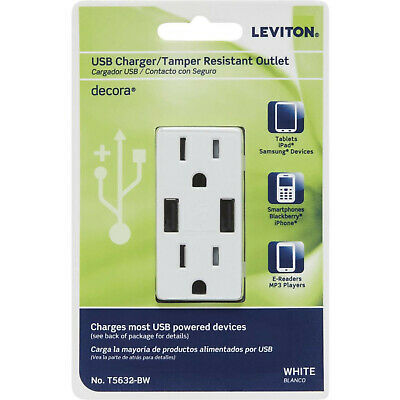 Leviton T5632-BW Decora 3.6A Smart Chip USB IN-Wall Fast Charging 15A outlet