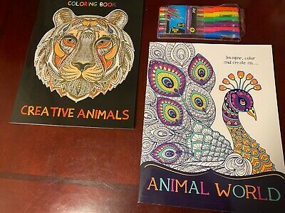 2 NEW Beautiful Adult Coloring Books, Animals Intricate Designs Plus 6 Gel Pens